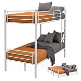 mecor 2 x 3FT Single Metal Detachable Bunk Beds Frame - Splits into 2 Beds - for Twins Kids Children Teenagers Adult Dormitory Bed (white)