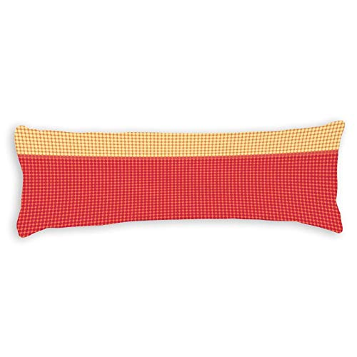 Promini Vintage Orange Yellow Cream Dots Striped Pattern Body Pillow Cover Pillowcases Cushion with Hidden Zipper Closure for Sofa Bench Bed Home Decor 20'x54'