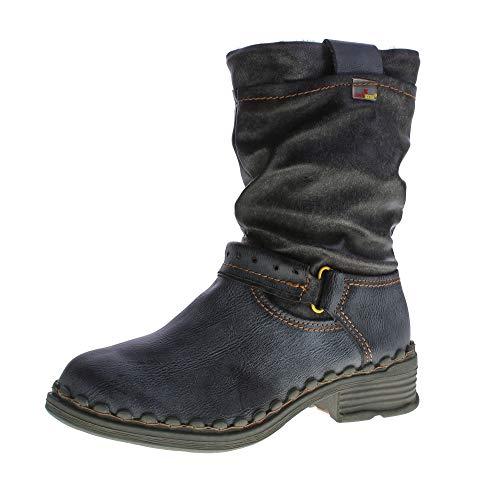 TMA Damen Winter Stiefel echt Leder gefüttert Stiefeletten TMA 5005 Schuhe Schwarz Boots Gr. 38