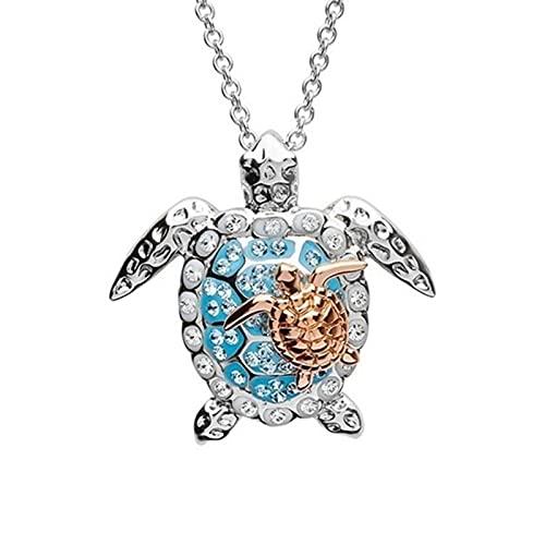 Collar de animales oceánicos con diamantes de imitación para padres y niños, aleación de tortuga de mar, colgante de cuello, joyería de graduación para estudiantes