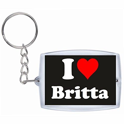 """EXCLUSIVO: Llavero """"I Love Britta"""" en Negro, una gran idea para un regalo para su pareja, familiares y muchos más! - socios remolques, encantos encantos mochila, bolso, encantos del amor, te, amigos, amantes del amor, accesorio, Amo, Made in Germany."""
