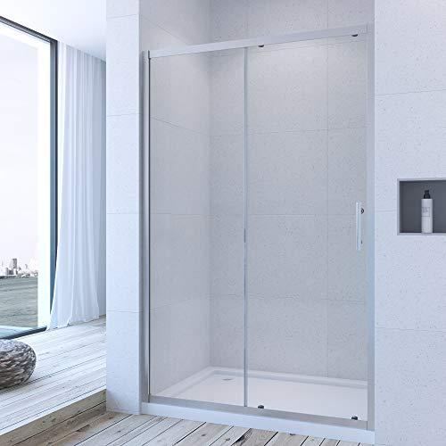 AQUABATOS® 140 cm Duschabtrennung Duschtür Nischentür Schiebetür Duschwand 6mm ESG Glas Höhe 185 cm