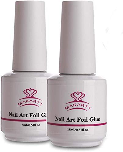 Makartt Nail Art Foil Glue Gel für Foil Stickers Nageltransfer Tipps Maniküre Art DIY 15ML 2 Flaschen