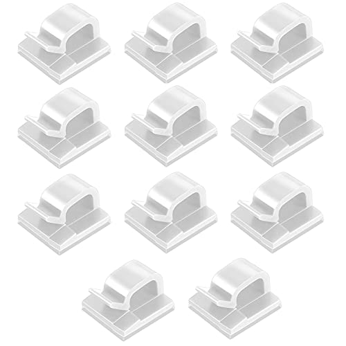 GeKLok 60 clips para cables, organizador de escritorio, mini rectangular multiusos organizador de cables para el hogar, oficina, coche, mesita de noche, accesorios de escritorio (blanco)