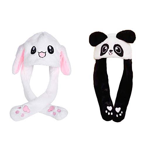2 Pcs Beweglicher Ohr-Kaninchen-Hut, Netter Panda-Hut Plüsch Bunny Ohren Stirnband Halloween Tier Ostern Cosplay Kaninchen - Lustige Plüsch-Häschen-Hut-Kappe mit Den Ohren(Kaninchenform + Pandaform)