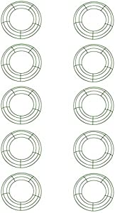 Royalty Essentials 12 Inch Metal Wire Wreath Wire Frame Form Hanger Green 12 Inch Pack of 10