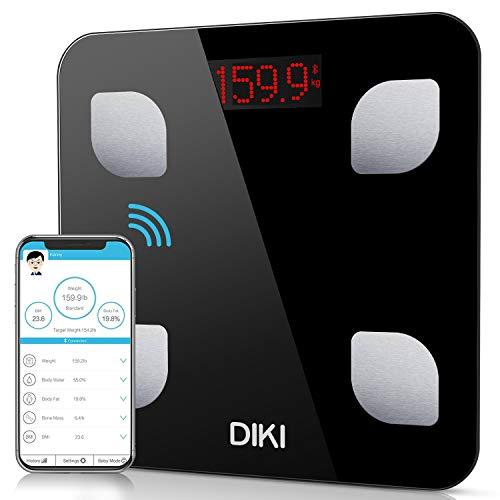 Báscula de Baño Digital Bluetooth con APP por IOS y Android, DIKI Balanza Digital Baño de Alta Medición Precisa con Análisis Corporal de 8 Funciones, Registrar usuarios ilimitados, 5-150KG (Negro)