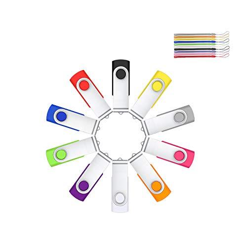 Lot Cle USB 2GO 10 pcs Mémoire Stick Rotatif par HOFOUND pour Ordinateur Portable/PC/Voiture/Console vidéo(Multi-Couleur)