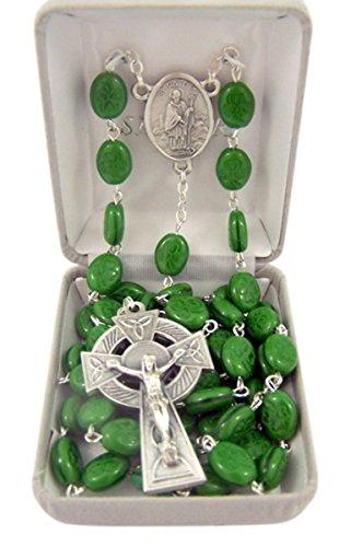 Catholic Green Irish Shamrock Prayer Bead Rosary Necklace with Saint Patrcick Centerpiece, 36 Inch