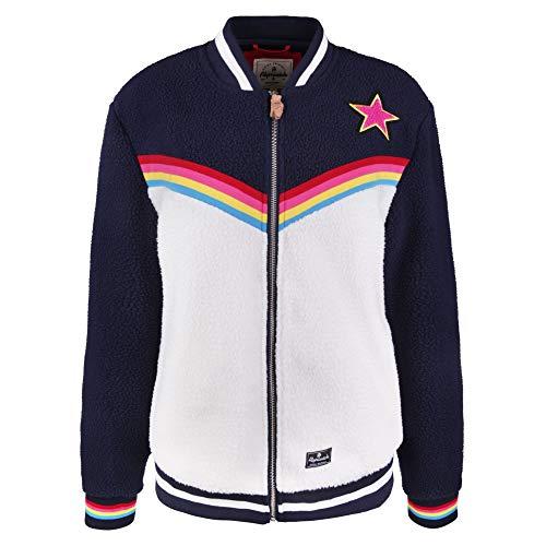 Alprausch W Bärli Märli Sherpa Fleece Jacket Colorblock-Blau-Weiß, Damen Freizeitjacke, Größe M - Farbe Navy - Snow Whit