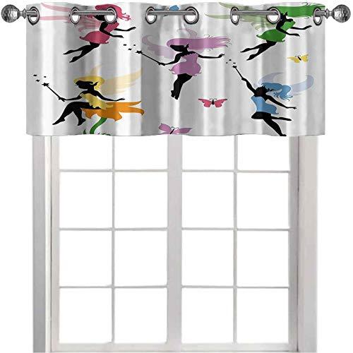 Cortinas cortas opacas con cenefa, diseño de duendes espirituales, hadas volando con mariposas y flores, 127 x 45 cm, cortina opaca para cocina, multicolor