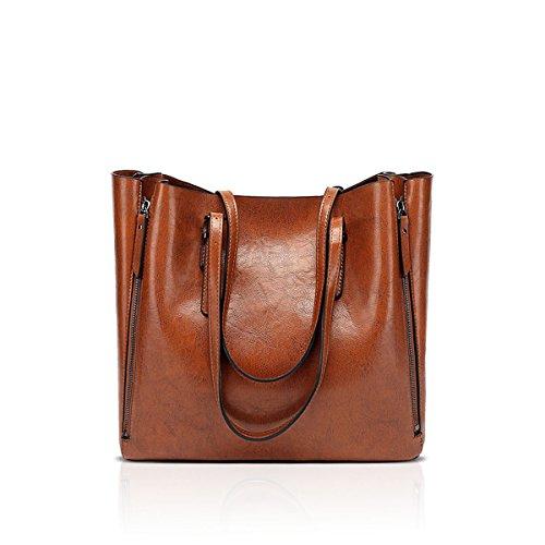 NICOLE & DORIS Damen Designer PU Leder Geldbörsen und Handtaschen Damen Tragetaschen Braun