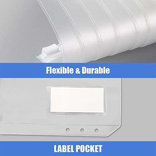 Sooez 12pcs Binder Pockets A6 Binder Zipper Folders, 6 Holes Zipper Binder Pocket with Label Pocket for 6-Ring Notebook Binder, Plastic Clear Zipper Binder Pouch Organizer for Cash, Cards Photo #2