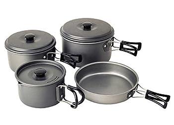 Coleman Kit de cuisine Trekking 8 Pièces en aluminium anodisé - Casseroles, poële, Couvercle + housse de transport