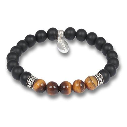 Anisch de la Cara Hombre Pulsera Tigereye - Pulsera de Piedras Preciosas de Cuentas de Mantra para Hombres con Plata de Ley, 8 mm Mantra Beads - Arte no 93350-a (18)