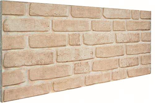 3D Wandverkleidung Wandpaneel aus Styropor in Steinoptik für Wohnzimmer, Küche, Terrasse oder Schlafzimmer - Ziegeleffekt - 100 cm x 50 cm x 2 cm, Typ 195