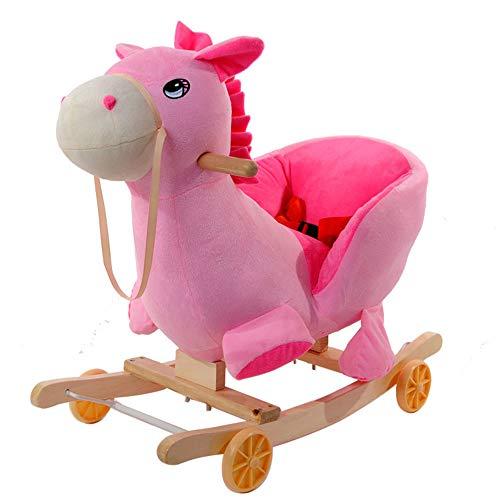 WANGXN Kinderschaukelpferd-Baby-Dual-Use-Baby-Schaukelstuhl Holz mit Musik Trojan-Baby Shaker 6-36 Monaten,Rosa