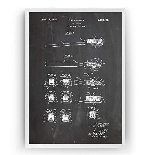 Zahnbürste 1941 Patent Poster - Toothbrush Drunken Print Vintage Jahrgang Bad Badezimmer Poster Toilette WC Art Zeichnungen Kunst Geschenke Vater - Rahmen nicht enthalten