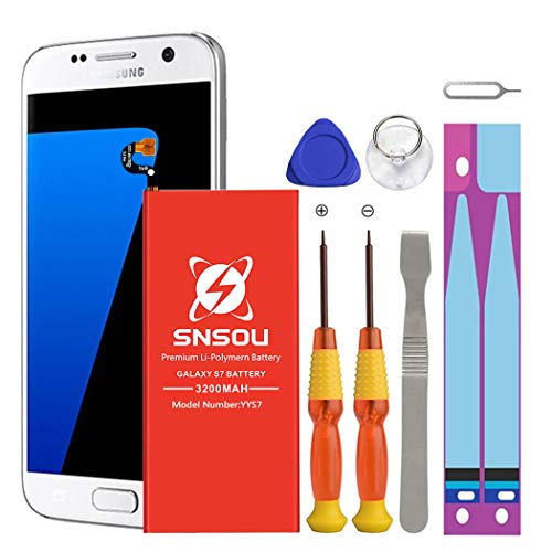 Galaxy S7 Battery, [Upgraded] SNSOU 3200mAh EB-BG930ABE Li-Polymer Replacement Battery for Samsung Galaxy S7 SM-G930 G930V G930T G930A G930P with Repair Replacement Kit Tools