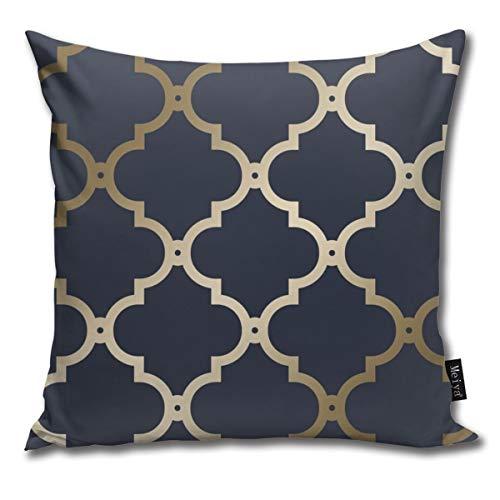 nonebrand Morocco Trellis Navy Gold Cushion Covers Home Decorative Throw Pillowcases for Livingroom Sofa Bedroom Car 18X18inch