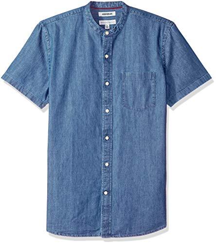 Amazon Brand - Goodthreads Men's Standard-Fit Short-Sleeve Band-Collar Denim Shirt, -medium blue, X-Large