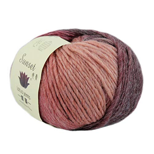 Lotus Yarns Multicolor Merino Wool DK Weight Yarn 5X50g Hanks for Hand Knitting and Crocheting (262-Sunset)