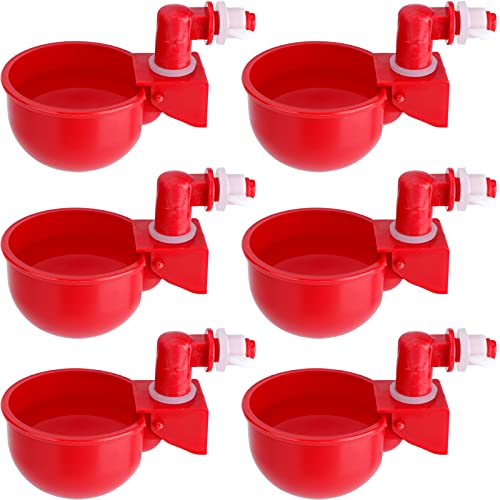 HiCamer Automatic Chicken Filling Water Cup Poultry Waterer Kit Auto Watering Drinker System Drinking Feeder Cup for Ducks Turkeys Quail Chicks (6 Pack)