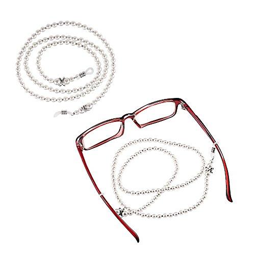 The Best Kingdom Marke neuen 2Pcs Brillenkette Kette klein weiß Perlen Gläser Halskette Riemen mit Halterung für Frauen