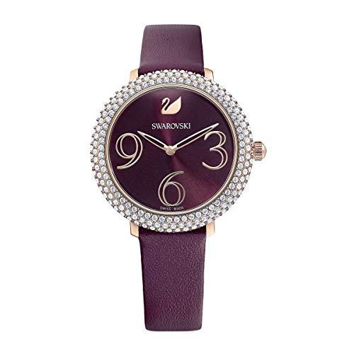 Swarovski Crystal Frost Uhr, Lederarmband, dunkelrot, Rosé vergoldetes PVD-Finish
