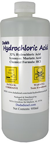 Duda Energy hydroc 1 Quart / 950Ml Bottle of Concentrated Hydrochloric/Muriatic Acid, HCL, 25...
