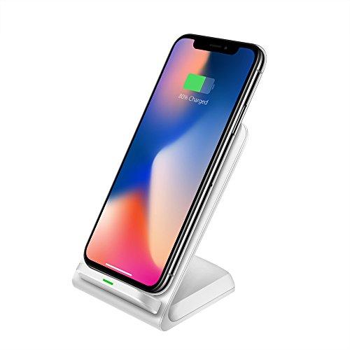 UNISOPH Cargador inalámbrico, 9V 1.3A 10W Cargador de inducción Soporte de para iPhone 8/8 Plus/X Galaxy S6 / S7 / S8 Note 5/7 LGD1 LG G2 / G3 / G10 Nexus 4/5/6, Blanco