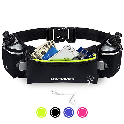URPOWER Upgraded Running Belt Water Bottle, Running Fanny Pack Adjustable Straps, Large Pocket Waist Bag Phone Holder Running Fits 6.5 inches Smartphones, Running Pouch Men Women
