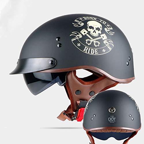 Retro Motorcycle Helmet Summer Half Helmet,Vintage Moto Helmet Open Face Scooter Biker Motorbike Racing Riding Helmet with DOT Certification,XL59~61