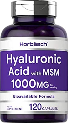 Hyaluronic Acid with MSM   1000 mg   120 Capsules   Non-GMO and Gluten Free Supplement   Bioavailable Formula   by Horbaach
