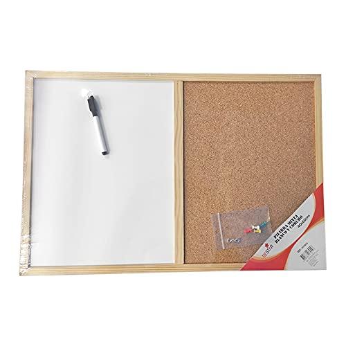 Pizzara combinada doble uso, tablero mixto blanco y corcho, 58,5 x 39 cm, marco de madera, rotulador borrado en seco, 4 chinchetas y argollas para colgar, oficina, cocina, hogar