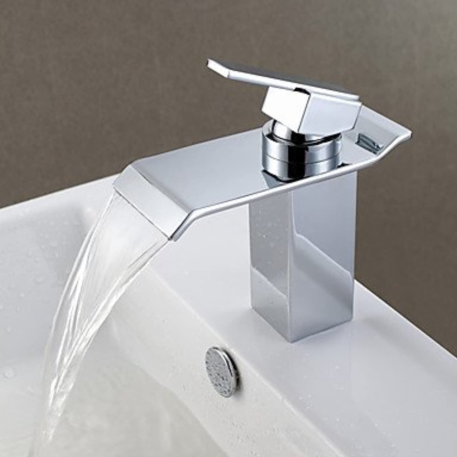 FYios?Contemporary Modern Style Centerset Waterfall withCeramic Valve Single Handle One Hole forChrome, Bathroom Sink Faucet