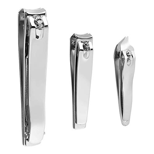 Nail Clipper Set - 3 Pack Premium INOX Ongle Ongle Ongle Clippers with Nail File Sharp for Women Man