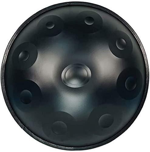 LLC- SUDA Happy Drums Steel Handpan Drum in D Menor, tambor de 55 cm, Handpan 9 tonos Happy Drums de acero, con bolsa de tambor y baquetas, fabricado en Estados Unidos Auténtico HandPan (Color: Negro)