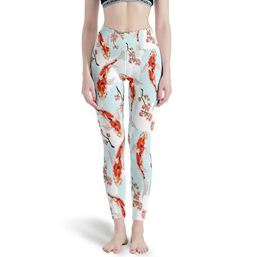 Elucassi Japón Koi Fish Leggings de cintura alta cómodos pantalones de yoga elásticos para yoga, entrenamiento, color blanco, 2XL
