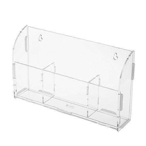 Docooler Acryl Fernbedienung Lagerung Box Handyhalter Kleinigkeiten Wandhalterung Lagerregal Container mit 3 Gitter Ladekabel Loch für Home Office