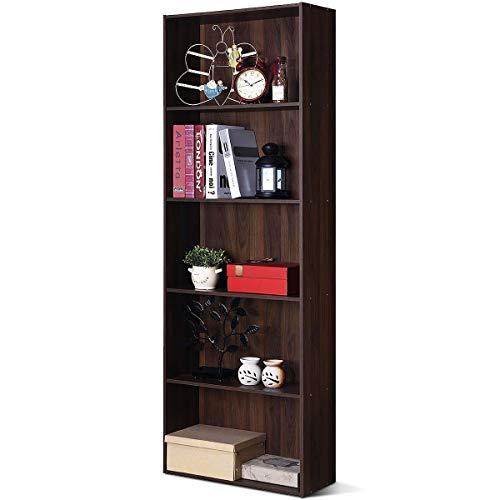 COSTWAY 170cm Bücherschrank mit 5 Ebenen, Bücherregal Holz, Aktenregal mit offenem Stauraum, Aufbewahrungsregal, Büroregal für Bücher, CDs, Pflanzen und Fotos (Walnuss)