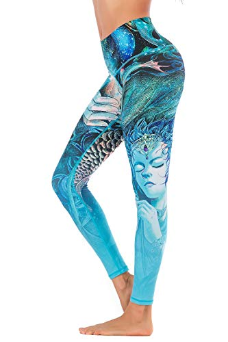 Chisportate Women Printed High Waist Yoga Legging Power Flex Tummy Control Workout Stretch Sport Yoga Pants for Gym Exercise Fitness