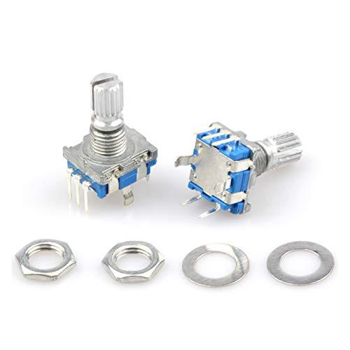 YSJJSQZ Interruptor Giratorio 5pcs / Lote codificador rotatorio Interruptor potenciómetro 5 Pin EC11 Potenciómetro Digital de Audio con Longitud de Mango de Ciruelo Potenciómetros de 20 mm