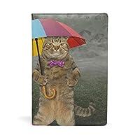 SoreSore(ソレソレ) ブックカバー a5 ねこ おもしろ 傘 かわいい 可愛い 猫柄 皮革 レザー 文庫本 ノートカバー メモ 手帳カバー 革 A5 かわいい おしゃれ