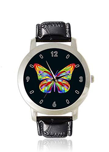 Butterfly Damenuhr, dünn, minimalistisch, modisch, wasserdicht, analog, Lederarmband, Geschenk