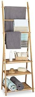 Relaxdays Handtuchhalter Bambus, Faltbar, Kleiner Kleiderst