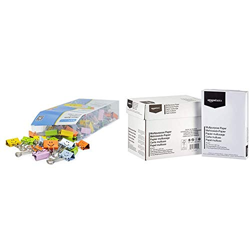 Rapesco 1428 19mm Smile Foldback Befestigungsclips (80 Klammern) Verschiedene Farben & Amazon Basics Druckerpapier, DIN A4, 80 g/m², 5x500 Blatt, Weiß