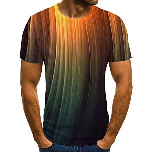Blue and White Reflections Camisetas 3D Hombre Golden Degradado halo Rubio Camiseta Hombre 3DT Camisa Manga Corta Cuello Redondo impresión Digital Casual Manga Corta-Color_S
