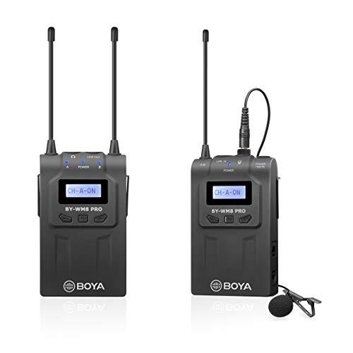 BOYA WM8 Pro-K1 UHF - Micrófono inalámbrico de lavalier con 1 transmisor Bodypack, 1 receptor portátil compatible con cámara réflex digital Canon, Nikon, Sony, Panasonic, XLR, videocámara y smartphone