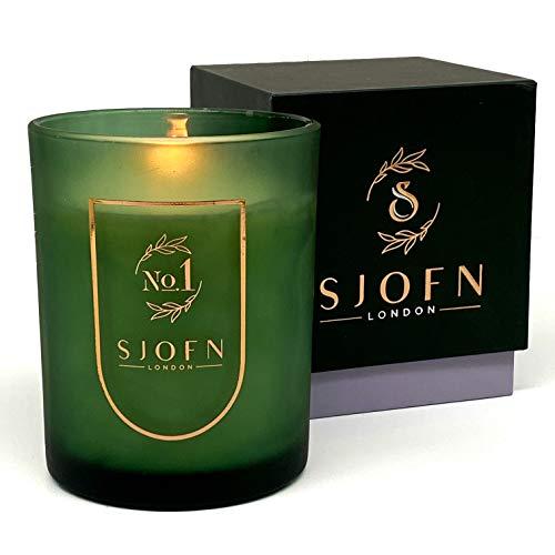 Sjofn No.1 Duftkerze, Geschenkset, 100 % natürliche Soja-Kerze, 220 g, 45 Stunden Brenndauer, individueller Duft von Blumen und Gewürzen, Geschenkidee für Sie oder als Dankeschön